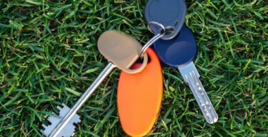Key link on the grass