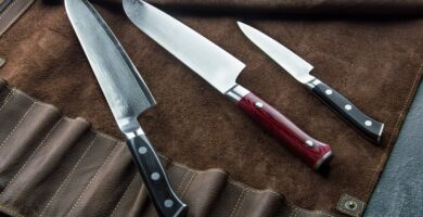 Excellent set of Japanese chef's knives from Damascus steel. View from above